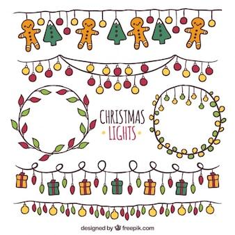 Luzes de natal fantásticas com formas diferentes