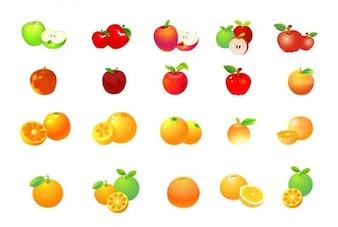 maçã e laranja vector set gráfica