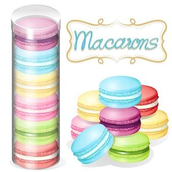 Macaron em ilustração de recipiente de plástico