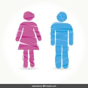 Macho e fêmea sinal toilette