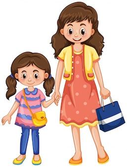 Mãe e filha de mãos dadas