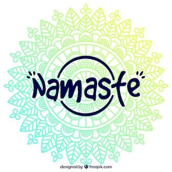 Mandala namaste lettering background
