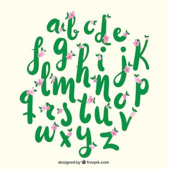 Mão alfabeto desenhado com flores