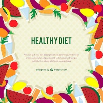 Mão alimentos saudáveis desenhada