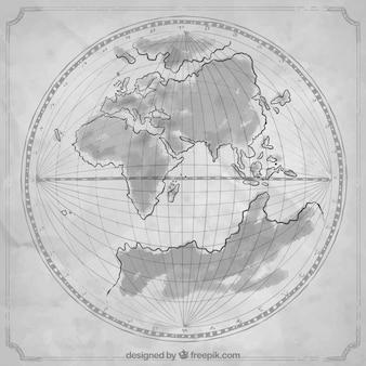 Mão antiga desenhada mapa do mundo