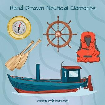 Mão barco desenhado com elementos Salor