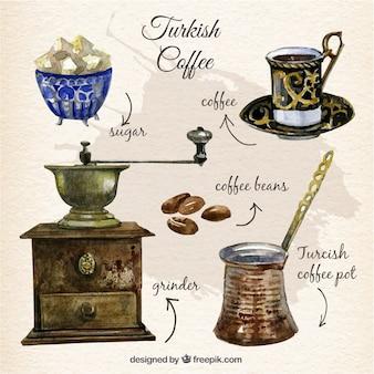 Mão café turco pintado