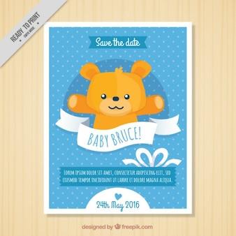 Mão Cartão do chuveiro desenhada peluche do bebê