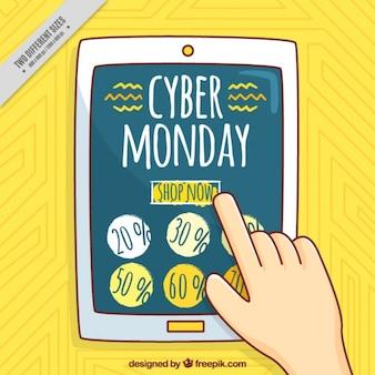 Mão cibernética traçada segunda-feira de desconto fundo amarelo