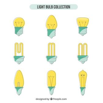 Mão coleção lâmpadas desenhada
