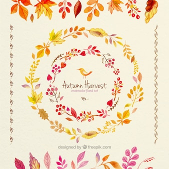 Mão colheita do outono pintado