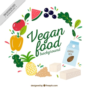 Mão comida vegan elaborado com ingredientes de fundo