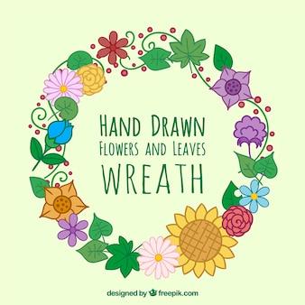 Mão coroa de flores desenhadas