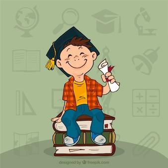 Mão da criança graduação desenhada