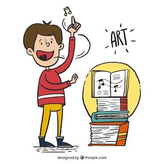 Mão da criança tirada cantando com livros