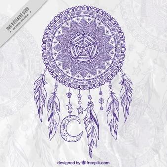 Mão decorativa dreamcatcher desenhada