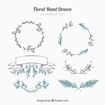 Mão decorativa elementos desenhados