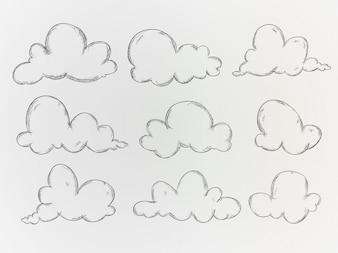 Mão desenhada nuvens collecti