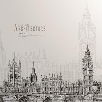 Mão, desenhado, casas, parlamento