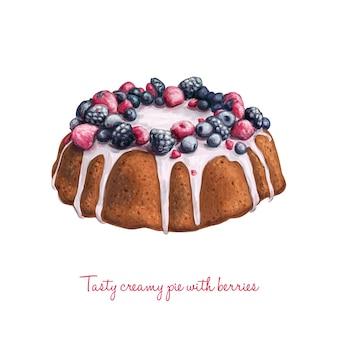 Mão, desenhado, delicioso, vetorial, torta, creme, bagas