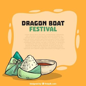 Mão, desenhado, dragão, bote, festival, fundo