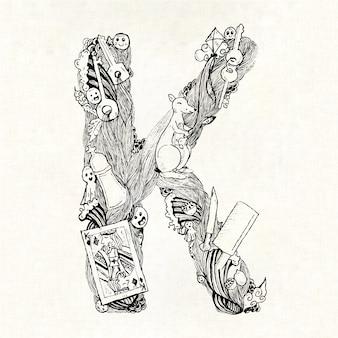 Mão, desenhado, letra, k, fundo