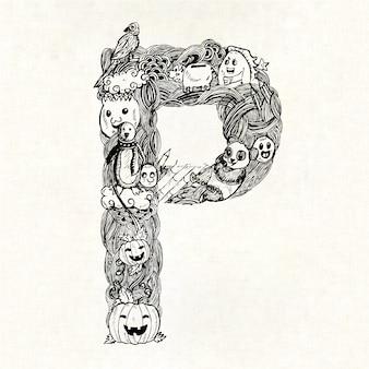 Mão, desenhado, letra, p, fundo
