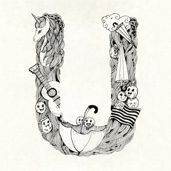 Mão, desenhado, letra, u, fundo
