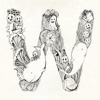 Mão, desenhado, letra, w, fundo