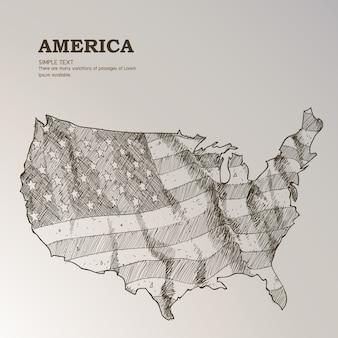 Mão, desenhado, nós, mapa, americano, bandeira