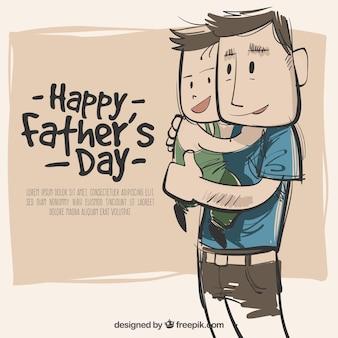 Mão, desenhado, pai, filho, fundo