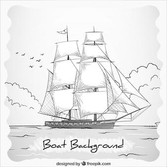 Mão, desenhado, pretas, branca, barco, fundo