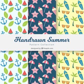 Mão, desenhado, verão, decorativo, padrões