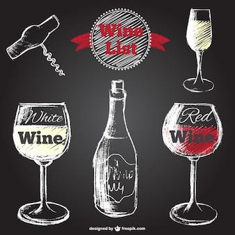 Mão, desenhado, vetores de vinho com textura negro
