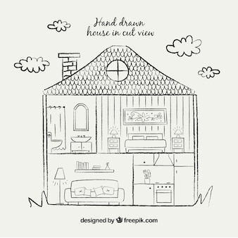 Mão, desenhar, casa, corte, vista