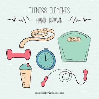 Mão elementos para a prática de esporte desenhada