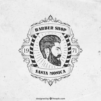 Mão emblema barbearia desenhada