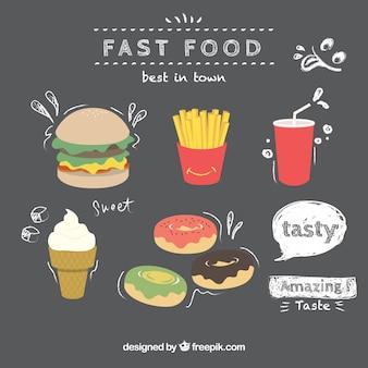 Mão fast food desenhado em um quadro negro