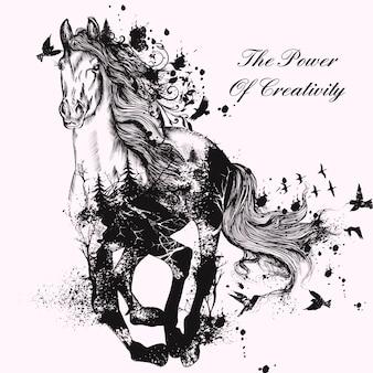Mão fundo desenhado cavalo