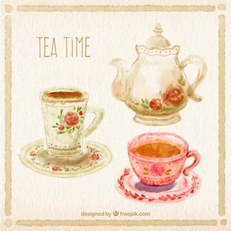 Mão hora do chá pintado