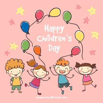 Mão Ilustração do dia das crianças felizes desenhada
