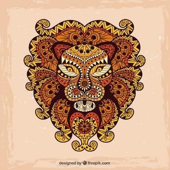 Mão leão abstrato tirado