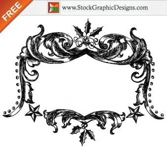 Mão livre Vector Natal Drawn Frames