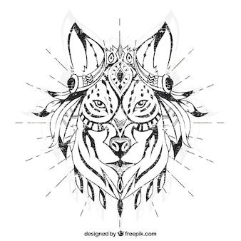 Mão lobo étnica desenhada