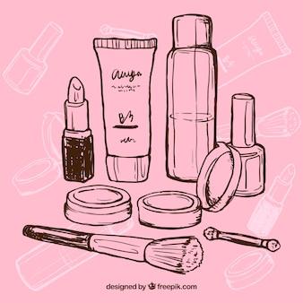 Mão maquiagem desenhada
