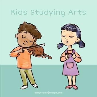 Mão menino desenhado a tocar violino e menina cantando
