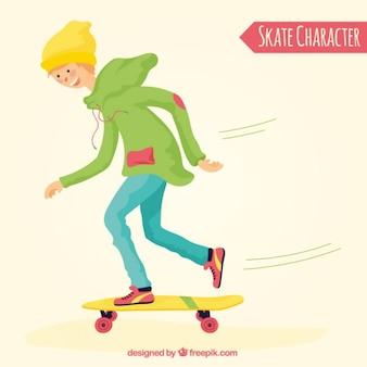 Mão menino desenhado com seu skate