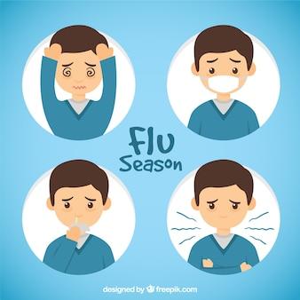 Mão menino desenhado com sintomas da gripe