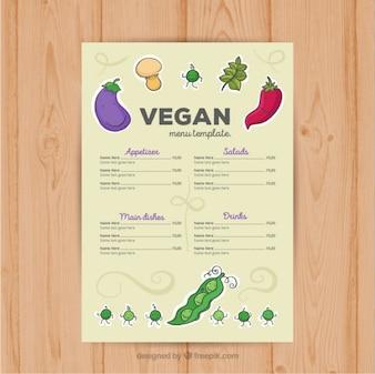 Mão menu do restaurante vegan desenhada