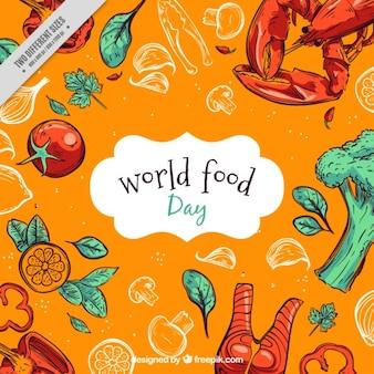 Mão mundo desenhado dia fundo alimentos